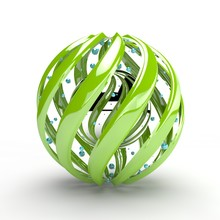 3D Rendering Of A Large Ball From A Parallel Swirling Green Spirals And A Silver Chrome Ball With Reflection In The Center And Many Small Flying Balls. The Idea Of Beauty And Harmony.