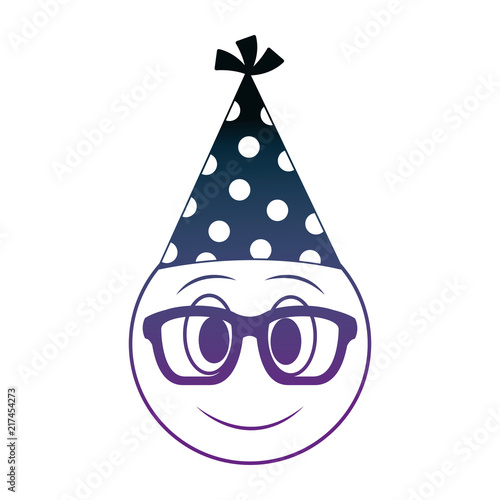 Birthday Face Emoji With Glasses Party Hat Neon Design Image