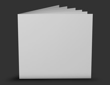 Square Shaped Leaflet, Brochure With Few Pages Standing On Floor Blank Cover.
