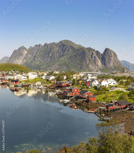 Garden Poster Scandinavia Fishing harbor in the beautiful village Reine in the Lofoten Islands, Norway