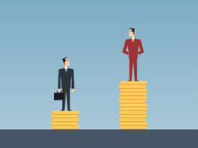 Unequal Salary Concept Of Two Businessmen Standing On Golden Coin Stacks In Flat Icon Design With Blue Color Background