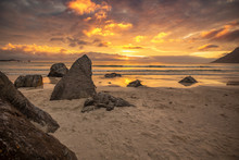 Magical Sunset On The Beach In...