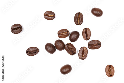 Poster Café en grains Coffee beans pile, collection isolated on white background and texture, top view