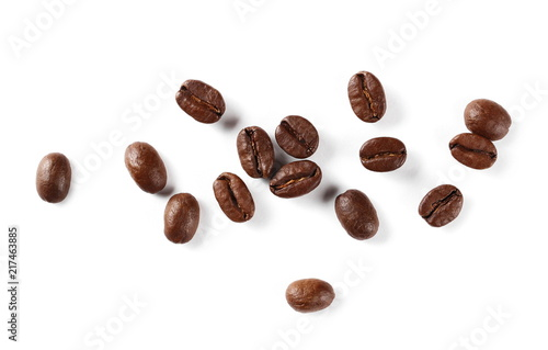 Poster Café en grains Coffee beans pile isolated on white background and texture, top view