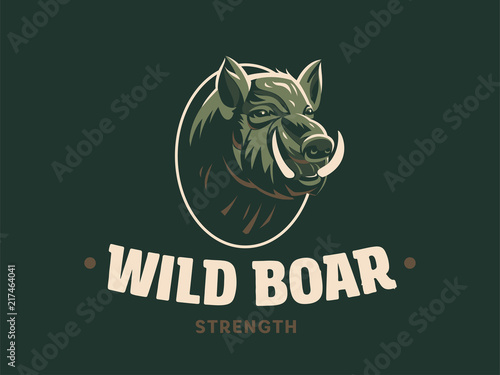 Stampa su Tela Wild boar with tusks.