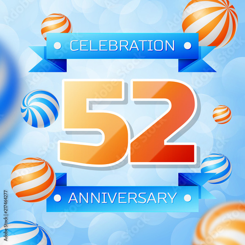 Poster  Realistic Fifty two Years Anniversary Celebration design banner