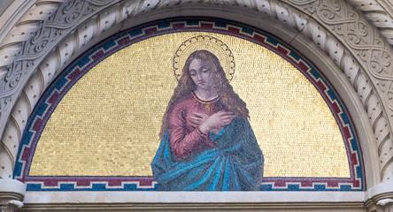 Milano, Italy. 2018/2/8. A mosaic of a saint (probably Saint Mary Magdalene) at the Cimitero Monumentale (
