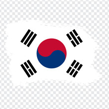 Flag Of South Korea, Brush Stroke Background.  Flag South Korea On Transparent Background For Your Web Site Design, Logo, App, UI. Stock Vector. Vector Illustration EPS10.