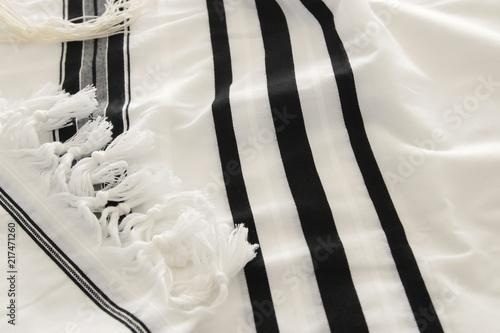White Prayer Shawl - Tallit, jewish religious symbol.