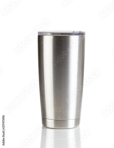 Stainless steel cup on a white background setting