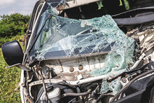 Smashed Minivan After Serious Car Accident