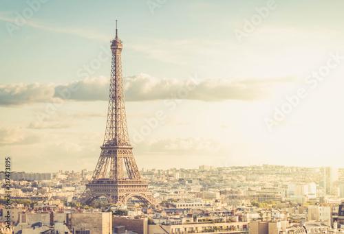 Photo Stands Paris famous Eiffel Tower and Paris roofs, Paris France, retro toned