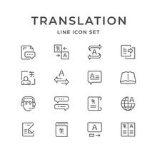 Set Line Icons Of Translation