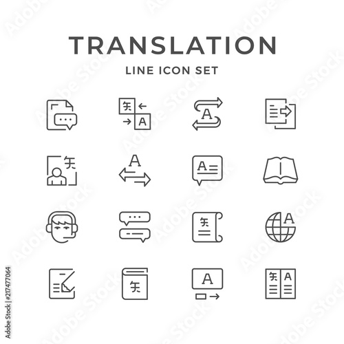 Fotomural  Set line icons of translation