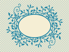 Retro Polka Dot Background With Blank Oval  Frame With Fancy Ivy And Vine Design In Dark Blue On Soft Yellow Beige Background Color