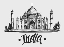 Sketch Of Taj Mahal. India. Hand Drawn Illustration. Vector