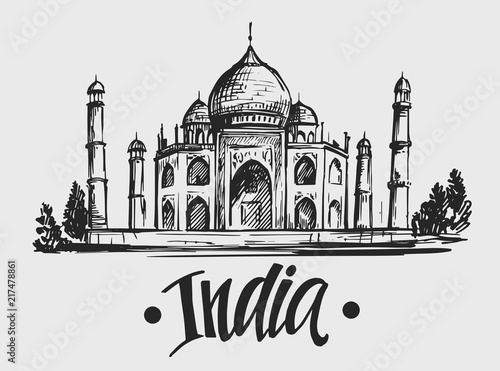 Fotografie, Obraz Sketch of Taj Mahal. India. Hand drawn illustration. Vector