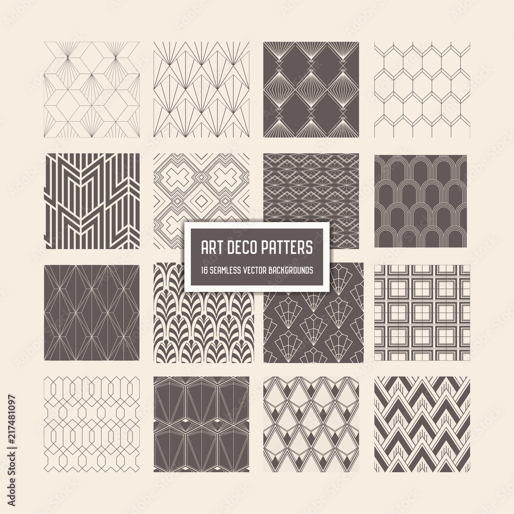 Art Deco Seamless Patterns, 16 Geometrical Backgrounds for design, cover, textile, decoration in vector