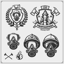 Set Of Firefighter Emblems, Labels And Design Elements. Vector Monochrome Illustration.