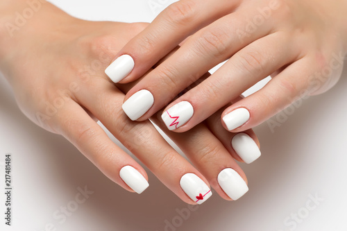 Aluminium Prints Manicure white manicure with a red heart and a cardiogram on short square nails