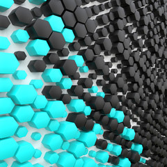 3d illustration abstract hexagon blue black background 3d render