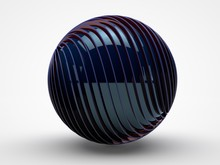 The Image Of A Black Ball Made Up Of Many Twisted Disc And The Blue Sphere In The Center, Red Edges On A White Background. 3D Rendering