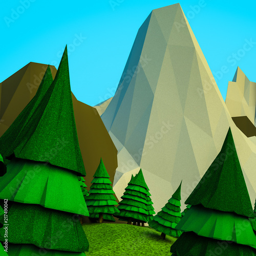 Fotobehang Olijf low polygonal Christmas trees and mountains. Landscape. Computer graphics. 3D rendering