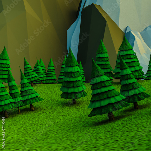 Foto op Plexiglas Groene low polygonal Christmas trees and mountains. Landscape. Computer graphics. 3D rendering