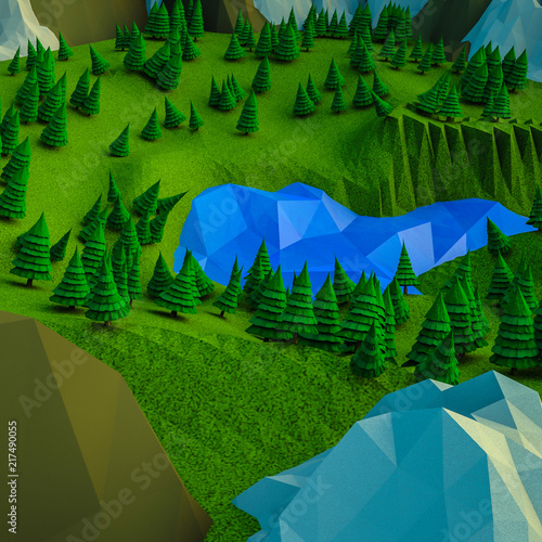 low polygonal Christmas trees and mountains. Landscape. Computer graphics. 3D rendering
