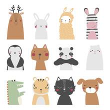 Set Of Cute Cartoon Animals. Vector Hand Drawn Illustration.