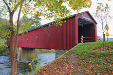 Old Covered Bridge In West Cornwall, Connecticut