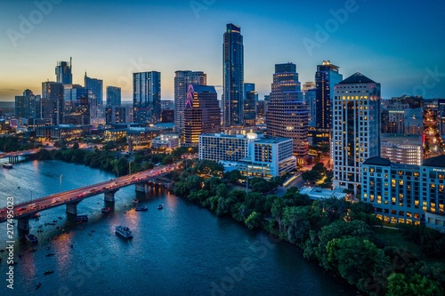 Austin, Texas Skyline At Sunset Canvas Print