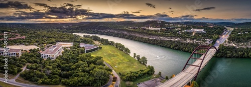 Tuinposter Parijs Austin, Texas 360 Bridge Sunset Panoramic