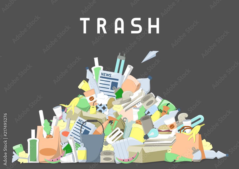 Fototapeta littering waste pile. flat style vector illustration