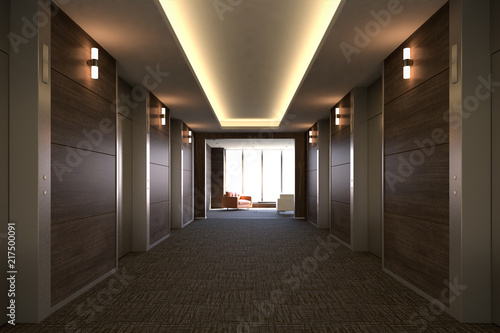 Elevator Hall, 3D render Canvas Print