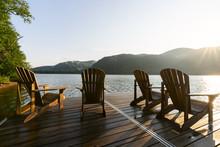 Adirondack Deck Chairs On Lake...