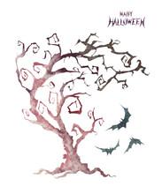 ハロウィーン 不気味な木 水彩 イラスト