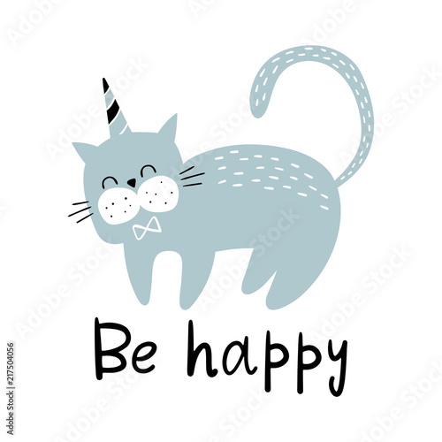 Vector illustration of a Cute cat Canvas Print