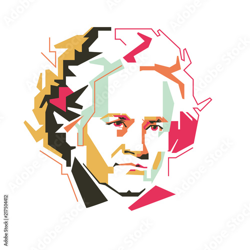 Photo Ludwig van Beethoven vector illustration