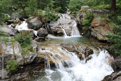 Fototapeten Forest river Flowing water from Cascate del Toce in the river Italy