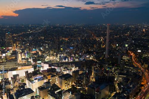 Foto auf AluDibond Blaue Nacht 東京風景・マジックアワー・池袋