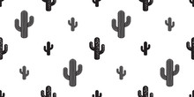 Cactus Seamless Pattern Vector Flower Isolated Plant Garden Desert Botanica Summer Background Repeat Wallpaper
