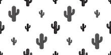 Cactus Seamless Pattern Vector Flower Isolated Plant Garden Desert Botanica Summer Background Repeat Wallpaper