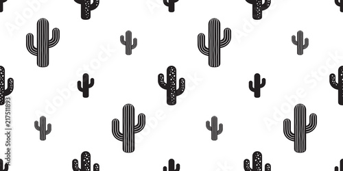Stampa su Tela cactus seamless pattern vector flower isolated plant garden Desert botanica summ