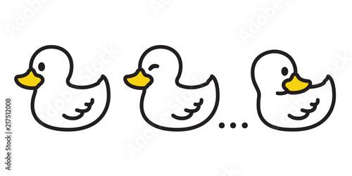 duck vector icon logo cartoon character illustration bird farm animal symbol cli Canvas Print