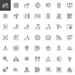 Engineering elements outline icons set. linear style symbols collection, line signs pack vector graphics. Set includes icons as Plan, Cpu, Toolbox, Presentation, Settings, Crane, Blueprint, Skyscraper