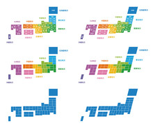 シンプル日本地図 都道府県名 地方色区分