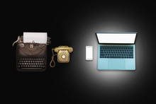 Past, Present And Future Of Technology And Devices, From Typewriter To Computer