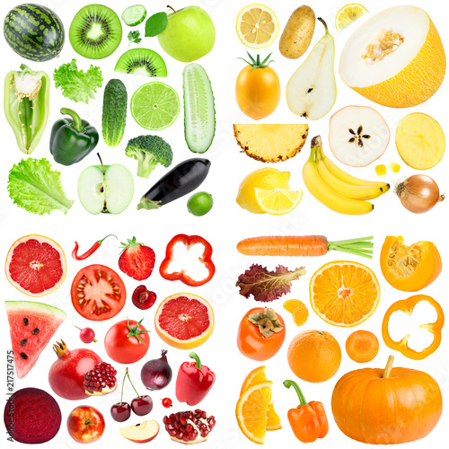 Collection of color fruits and vegetables