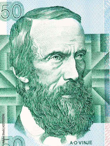 Foto  Aasmund Olavsson Vinje portrait from Norwegian money